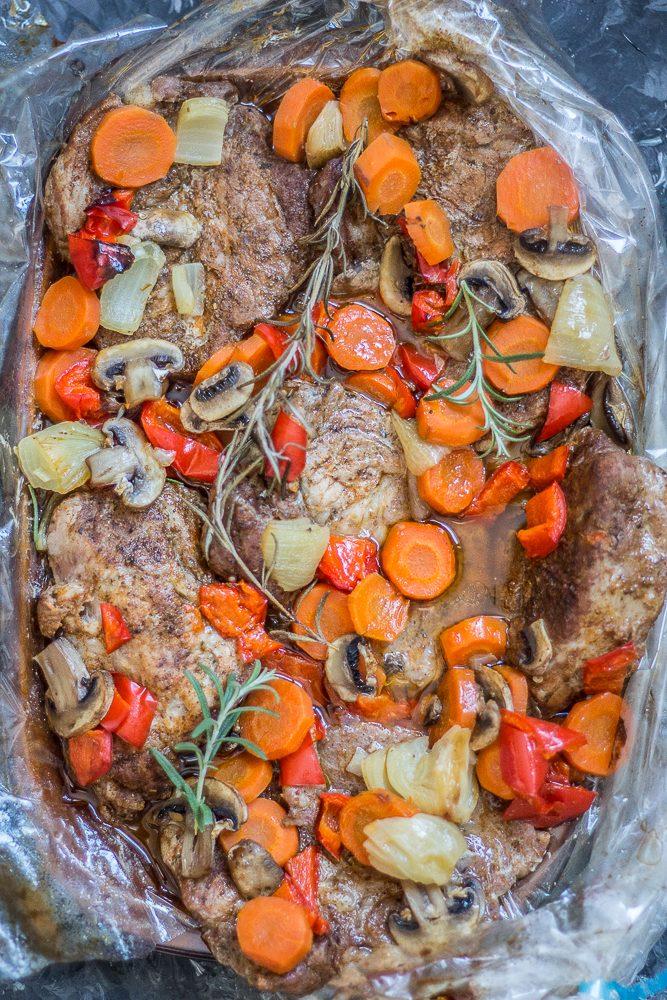 karkóka pieczona z warzywami